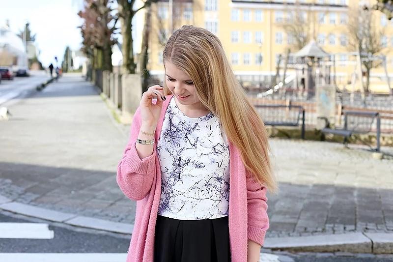 krist.in style marble top sheinside pink cardigan bikbok