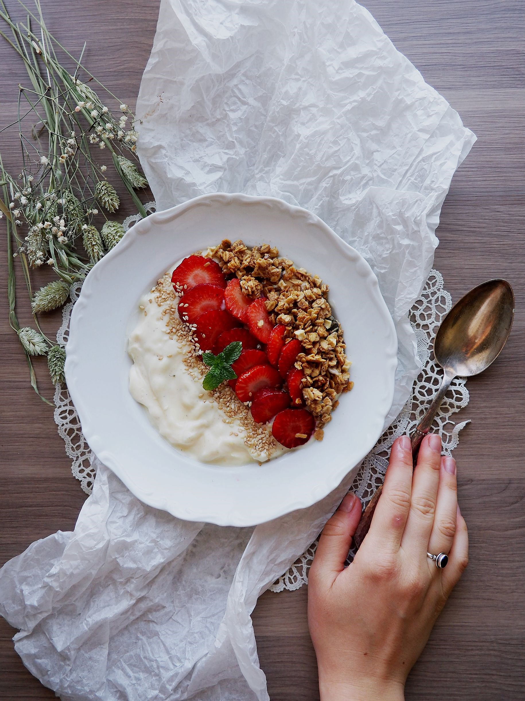 Swedish Summer in a Bowl - Vanilla Soygurt with Granola, Fresh strawberries and Spearmint