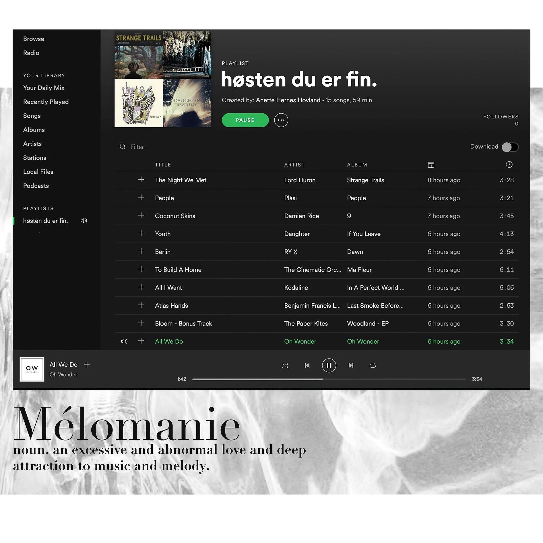 the playlist.
