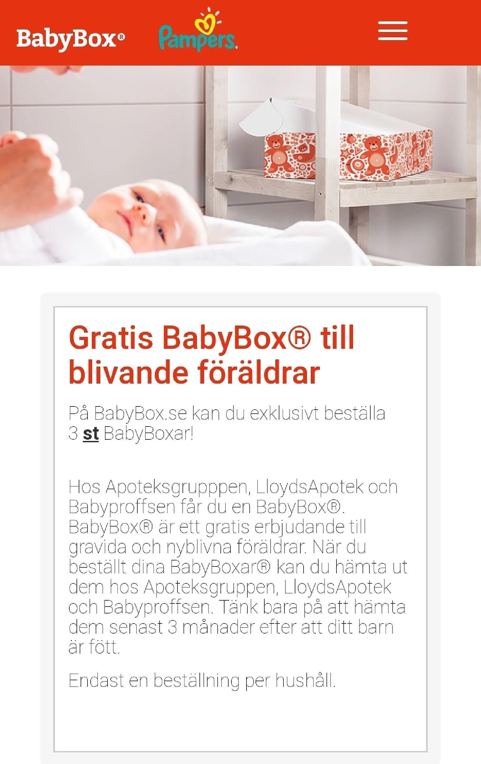 Beställ gratis Babybox