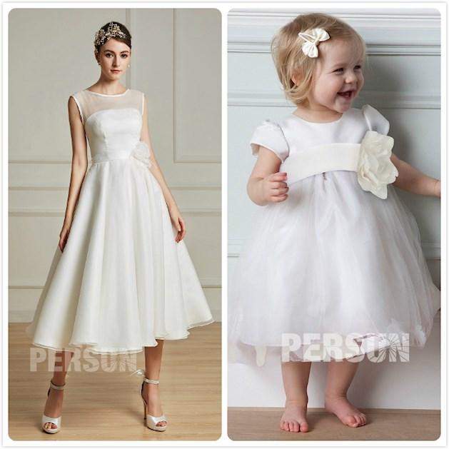 robe de mariée mi-longue simple et robe de baptême