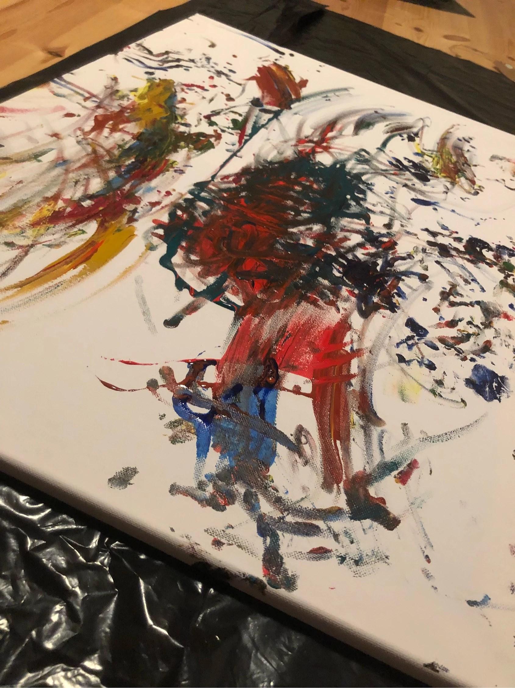 Millas första målning!