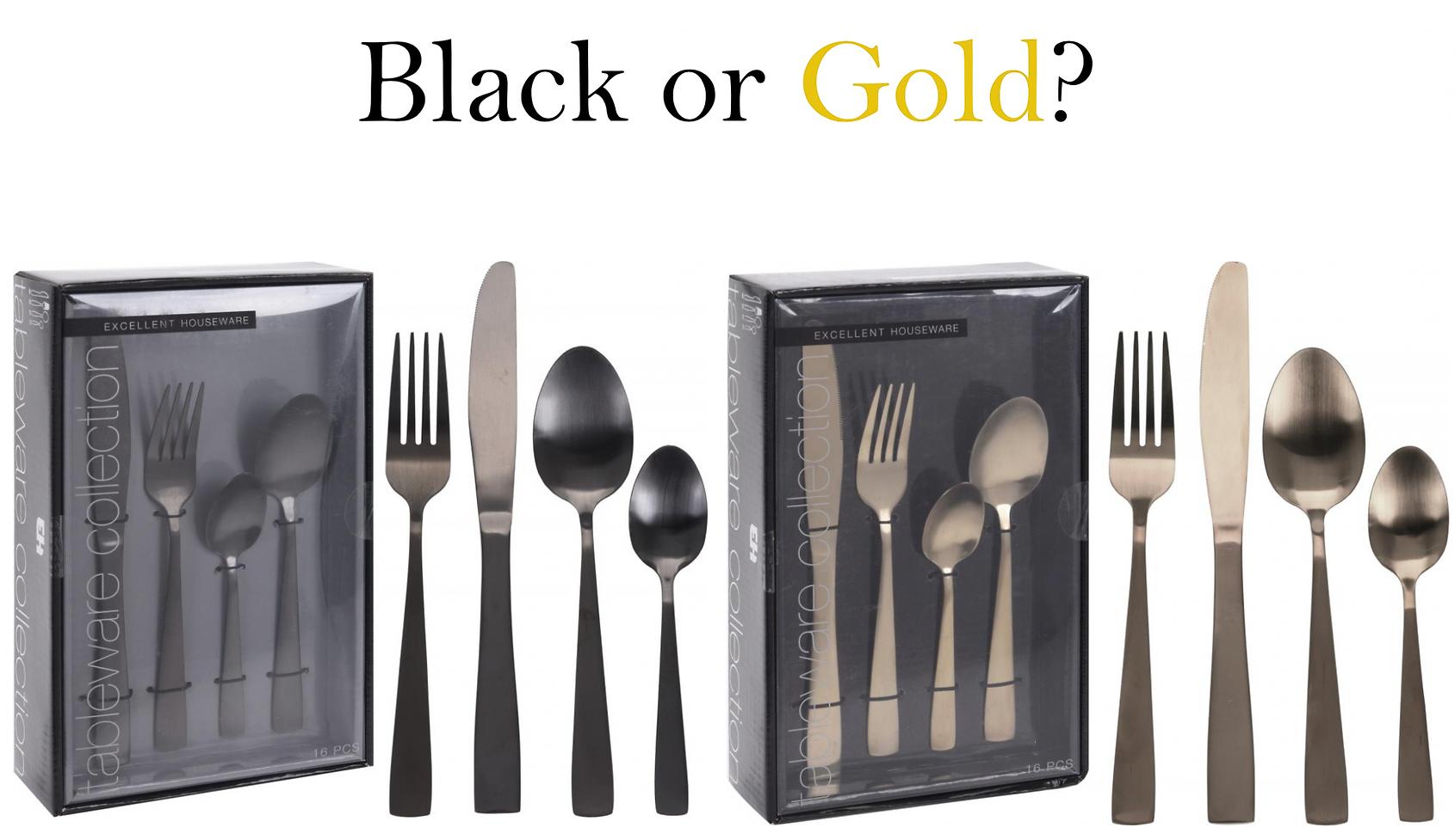 Svarta och guldiga bestick!
