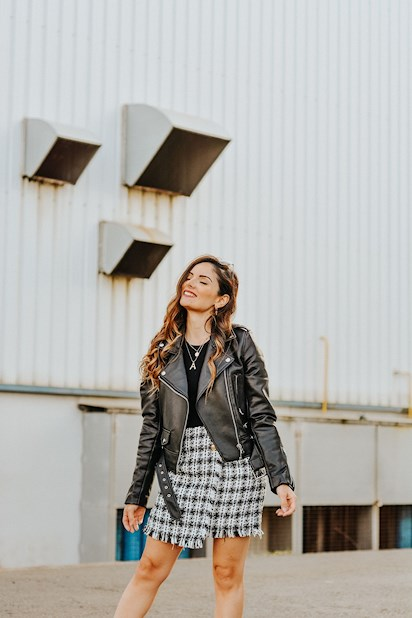 54d5ec630 Falda de tweed con biker | Petitsweetcouture