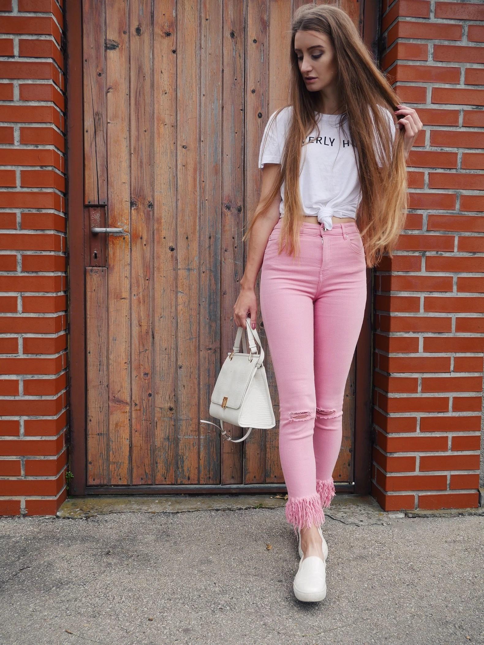 OOTD Różowe spodnie Zara