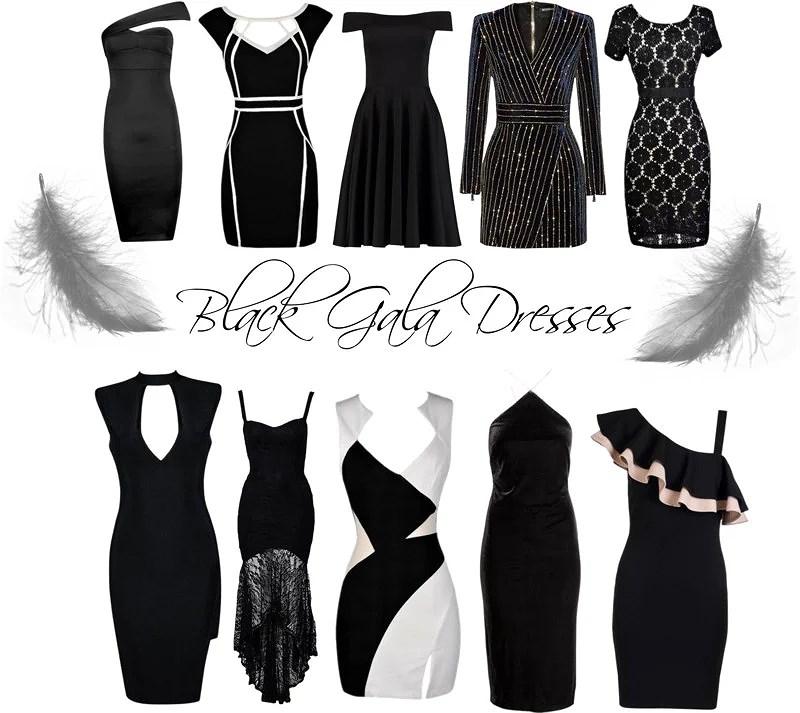 Black gala dresses