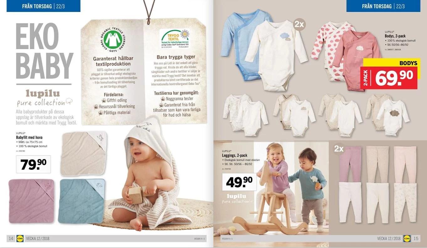 Billiga ekologiska bebiskläder hos Lidl