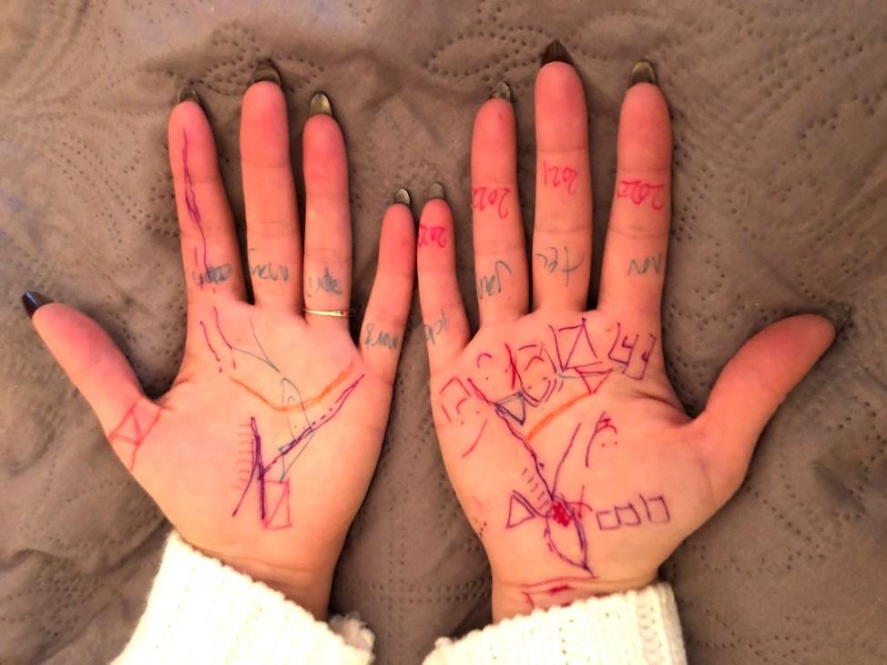 tegning, håndlæsning, farver, hænder, ring, negle,