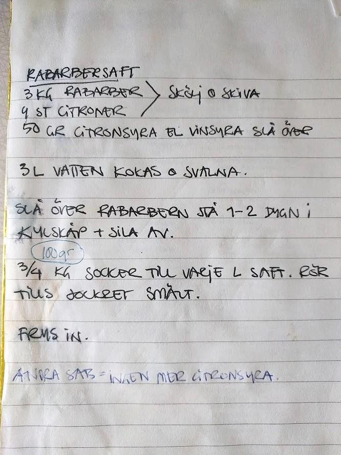 Recept rabarbersaft rabarberdricka utan att koka i kylskåp med citron handskrivet.