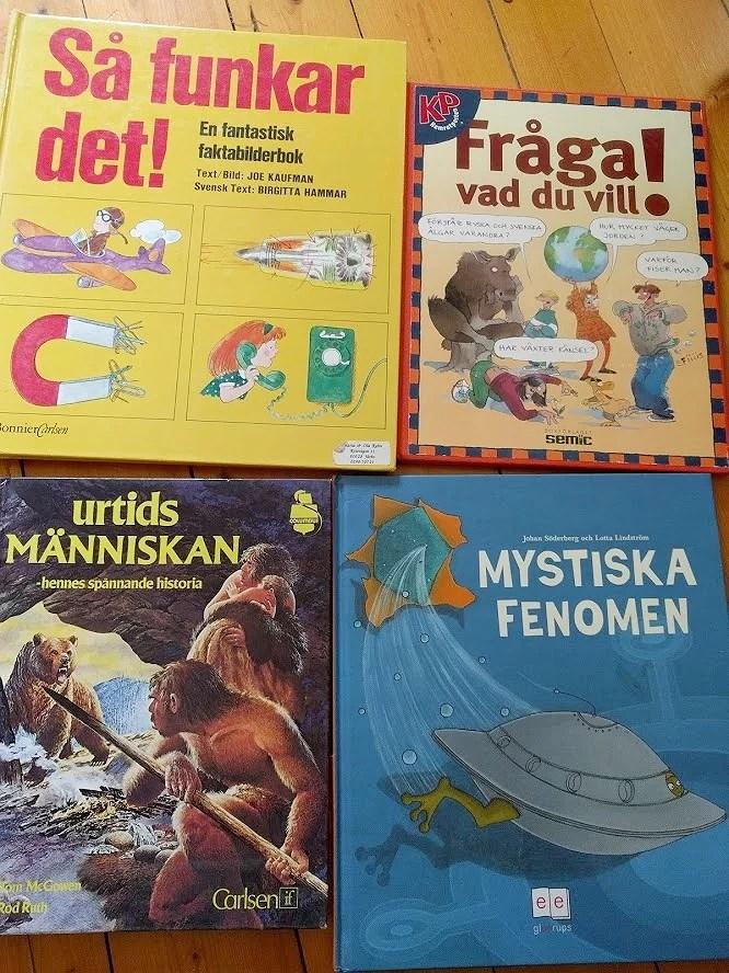 Loppisfynd emmaus röda 50% rea barnböcker böcker faktaböcker för barn urtidsmänniskan mystiska fenomen så funkar det fråga vad du vill