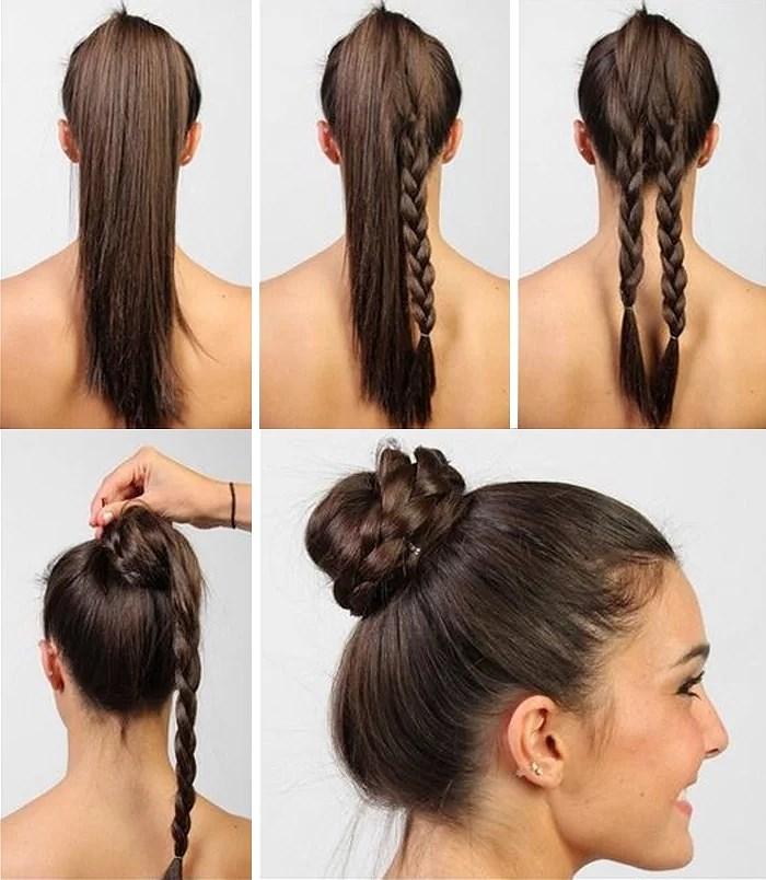 Как сделать пучок на голове на длинные волосы фото