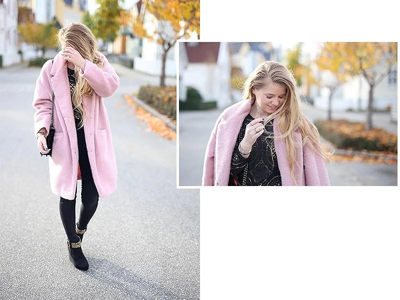krist.in antrekk rosa kåpe primark pink coat shein blouse lace