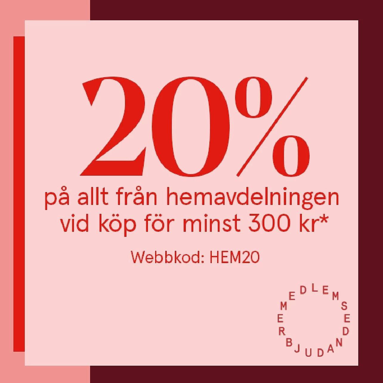 Åhléns 20% på allt hemavdelning