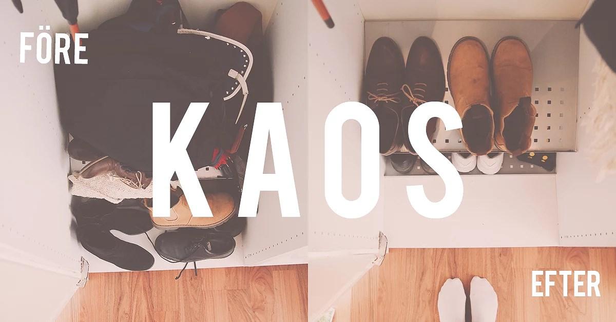 minimalism-utmaningen dag 5: kaos i skoskåpet..