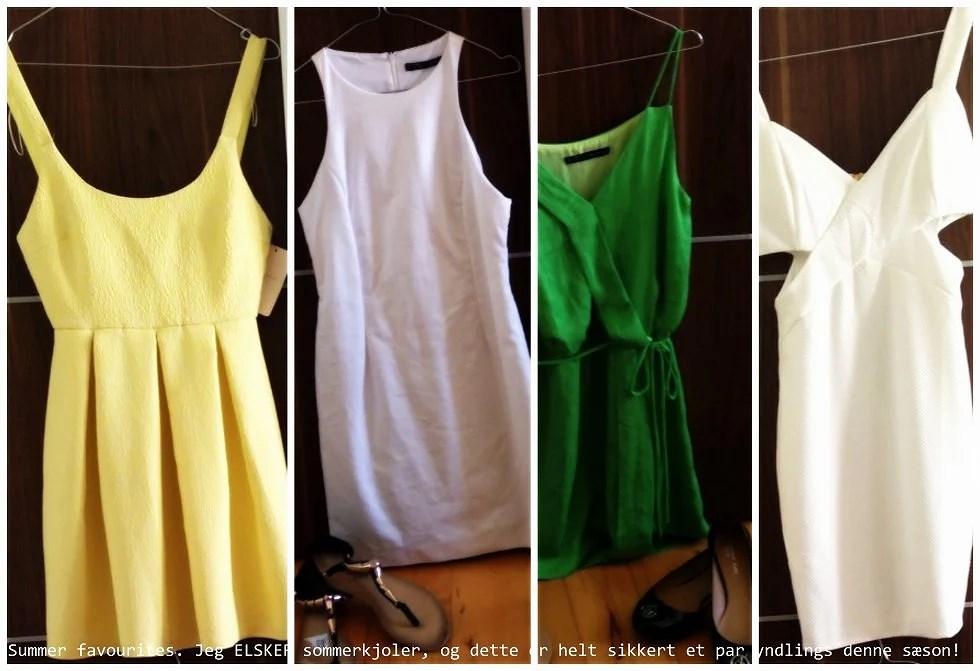 Gul kjole fra ZARA, hvid kjole fra ZARA, sandaler i sort og rosegold fra Creme Fraiche, grøn kjole fra ZARA, sorte ballerinaer fra Armani, hvid kjole fra Creme Fraiche