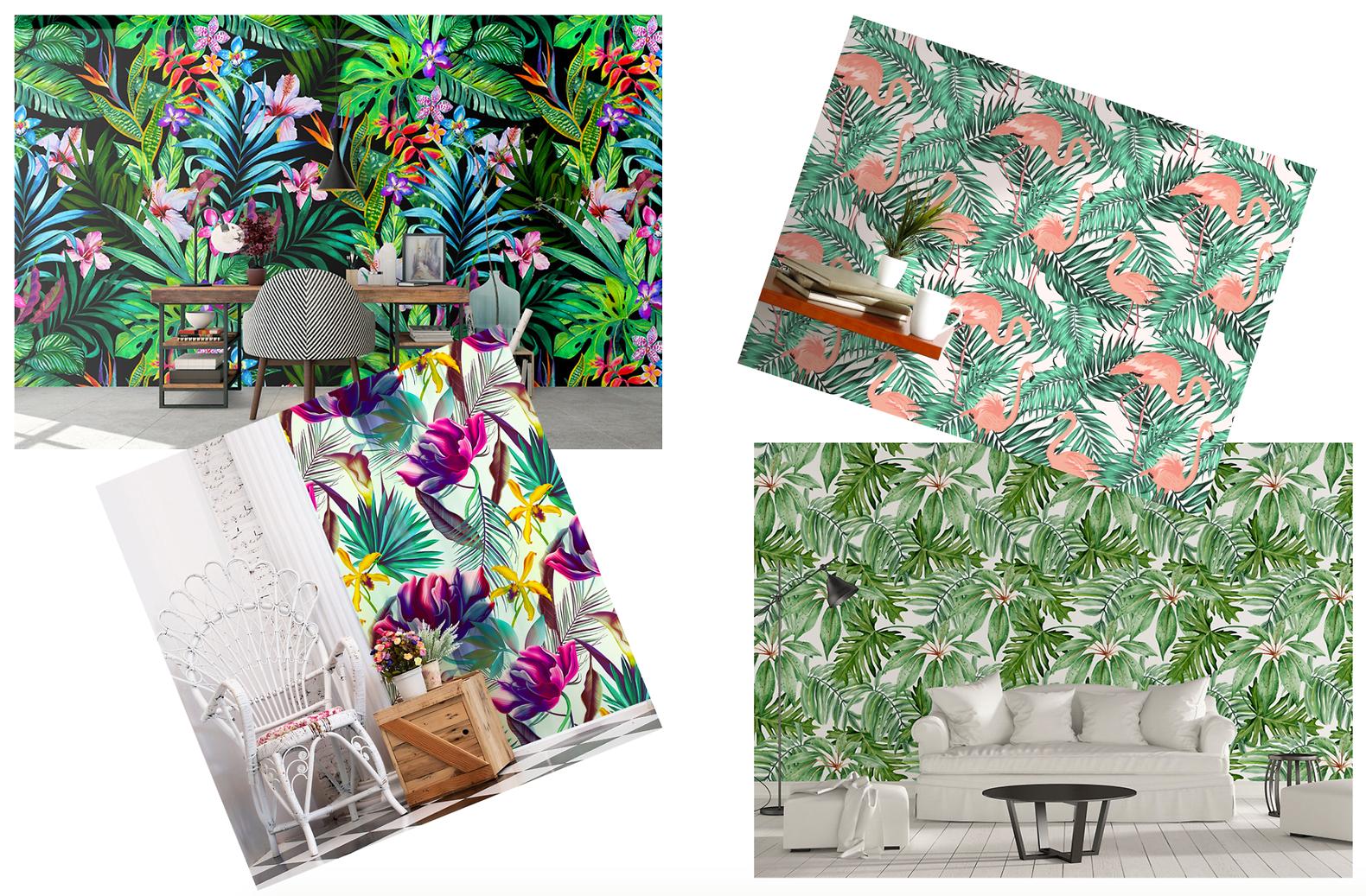 Tropical Wallpaper for Boring Cabinet Doors