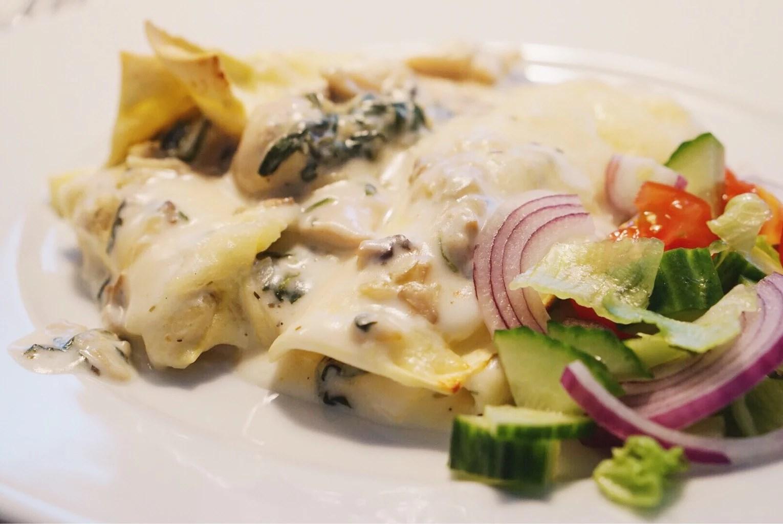 Cannelloni med kyckling, spenat och svamp