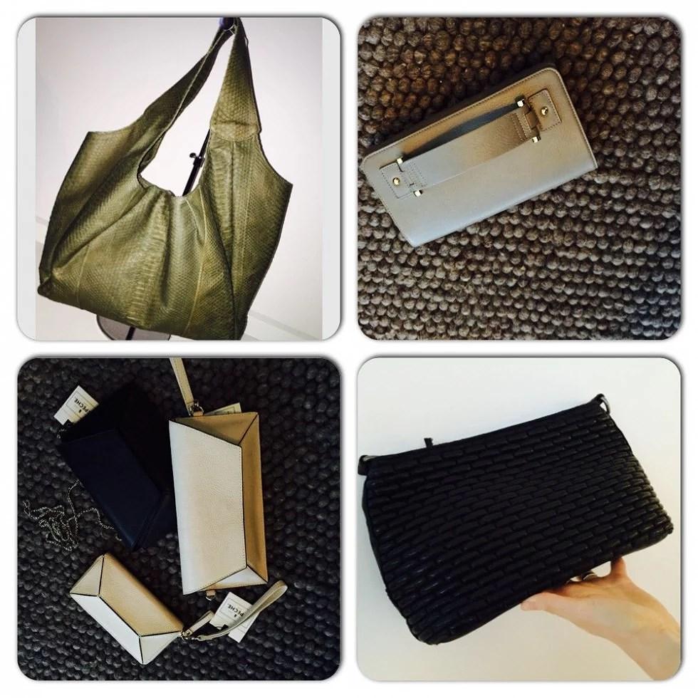 Grøn Taske Lux by lemon, Grå taske fra Naledi og sorte og beige takser fra Depeche (must have) fra Depeche