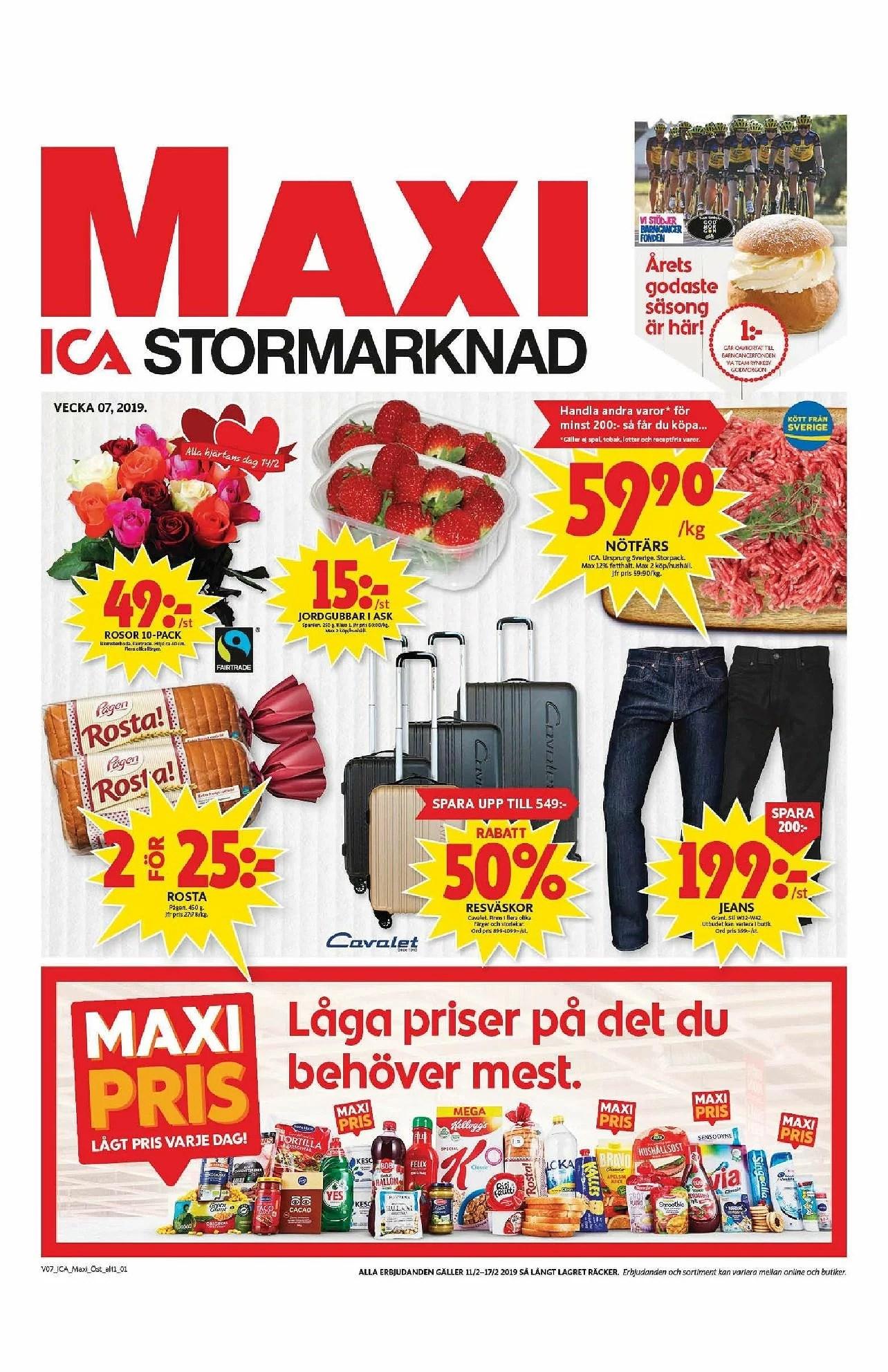 Ica Maxi nästa vecka, jorgubbar 15kr, 50% rabatt resväskor, nötfärs 59,90kr kg och annat