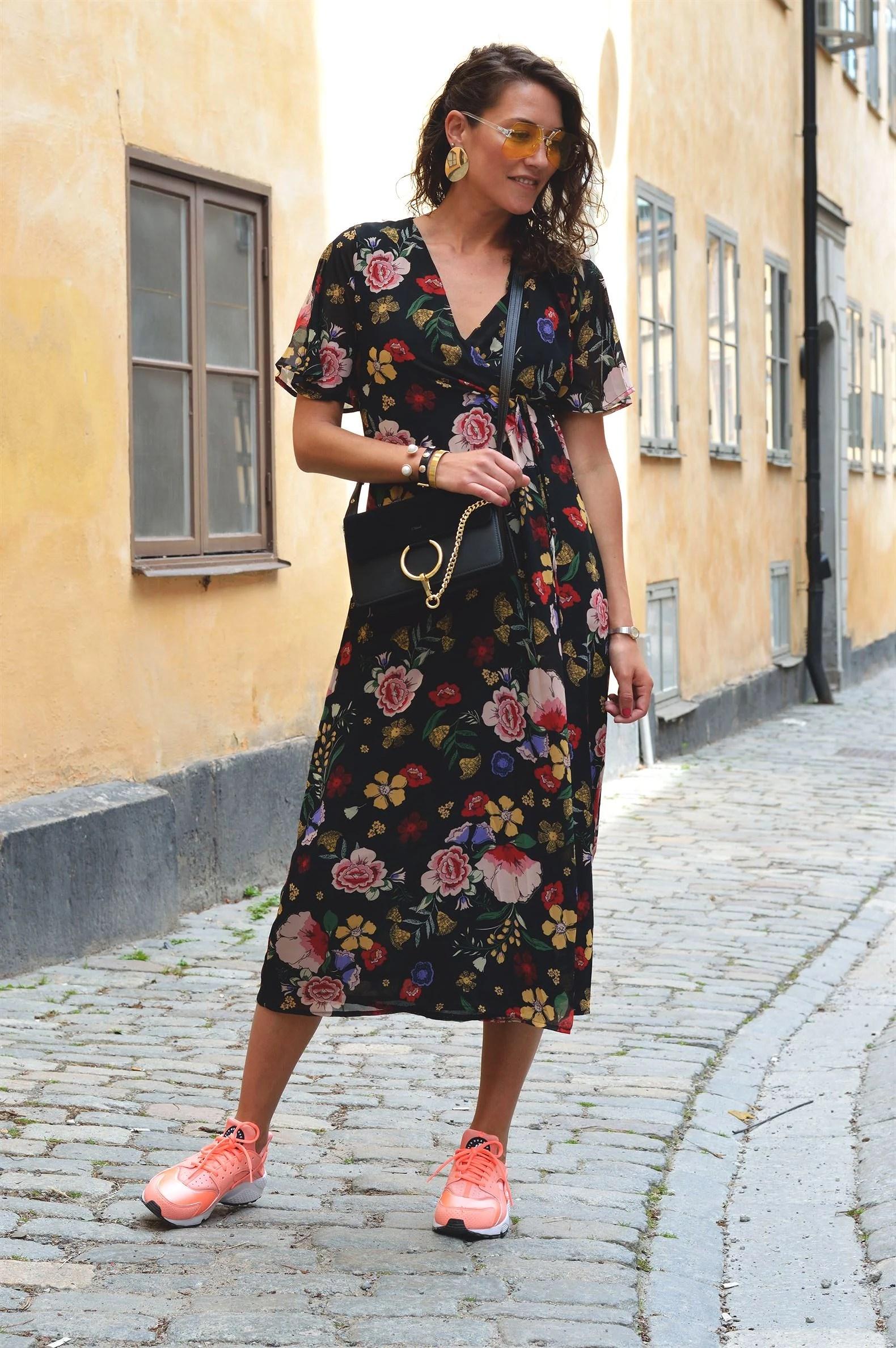 Floral Wrap Dress & Yellow Sunglasses