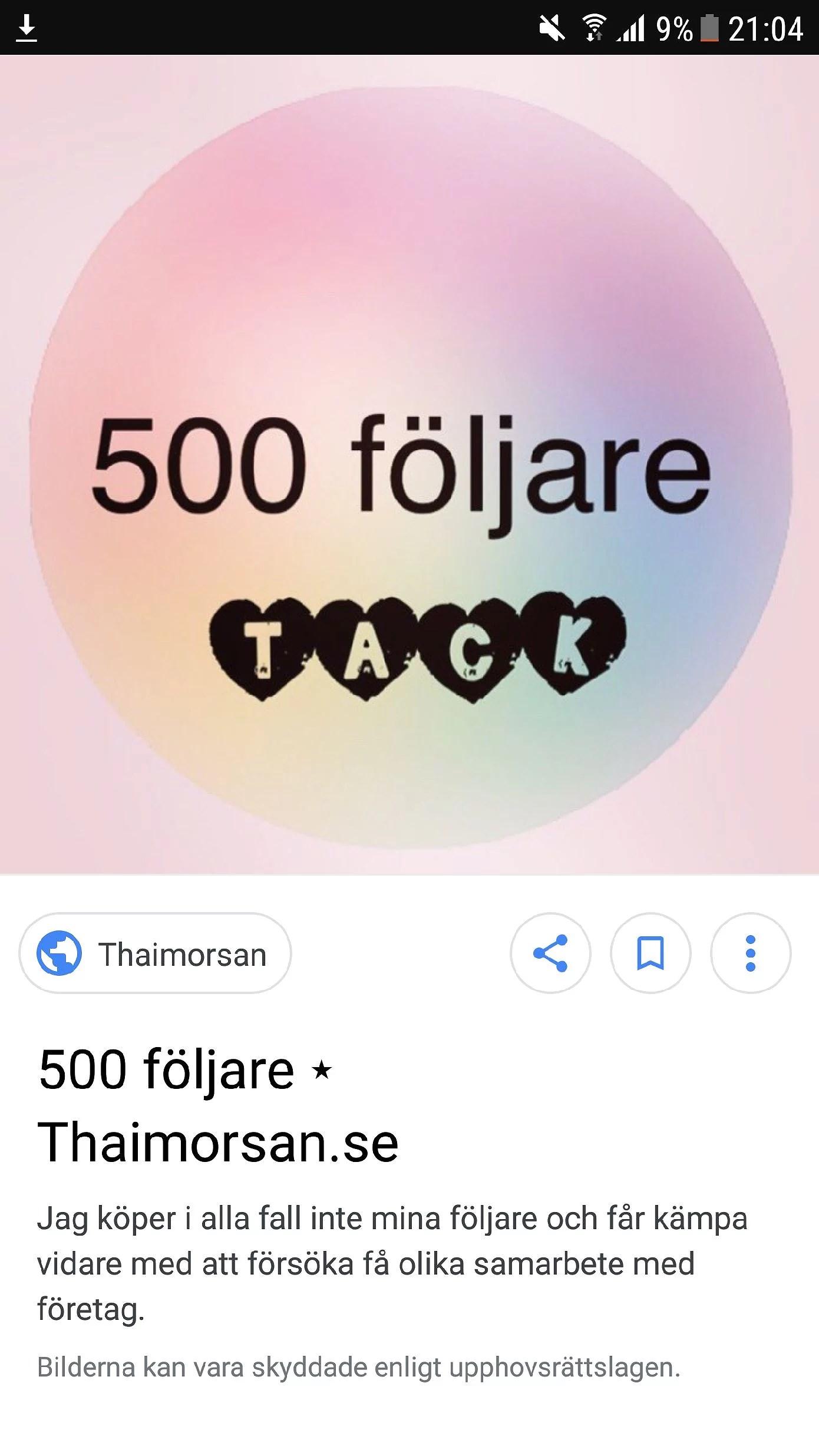 500 följare ett stort hjärtligt tack