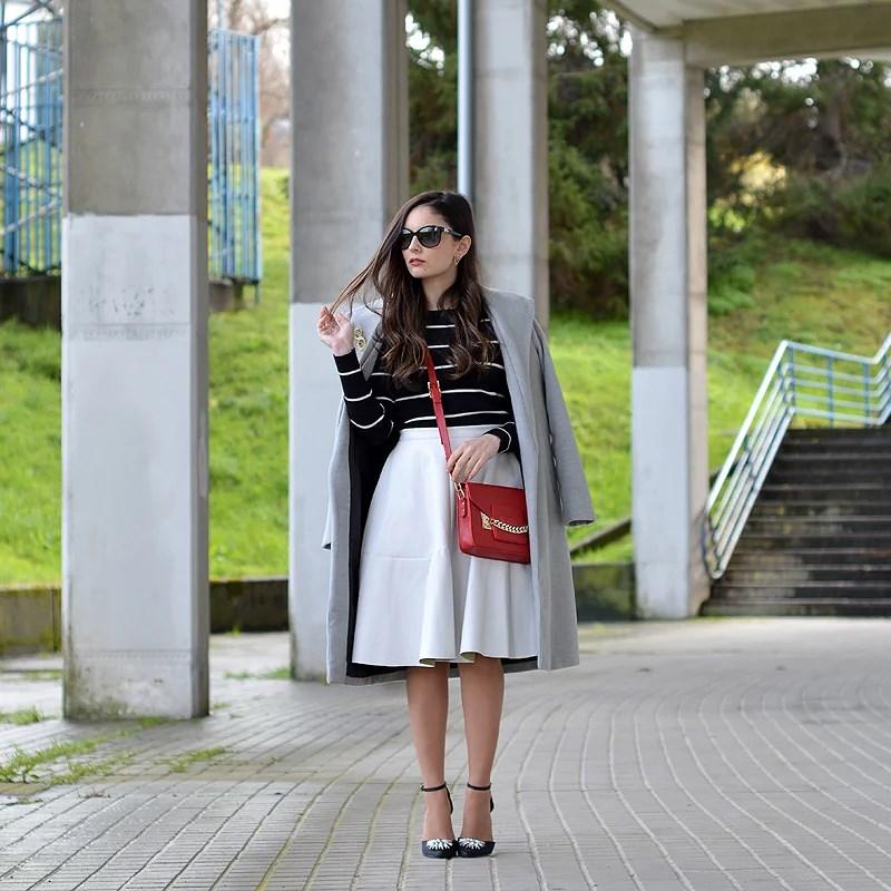 Midi White Skirt