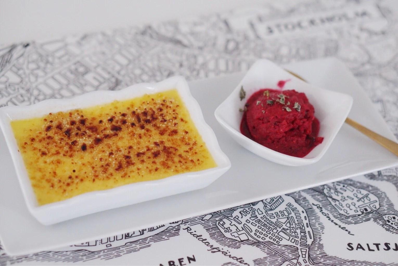 Crème Brûlée med Hallon-basilikasorbet