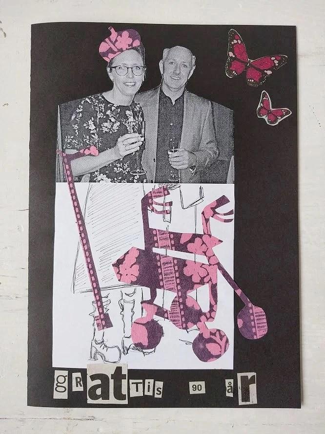 Gratis diy födelsedagskort till 90-års fest hemmagjort gratulationskort av återbruk svartvit utskrift och rullator utklippt i blommigt papper.