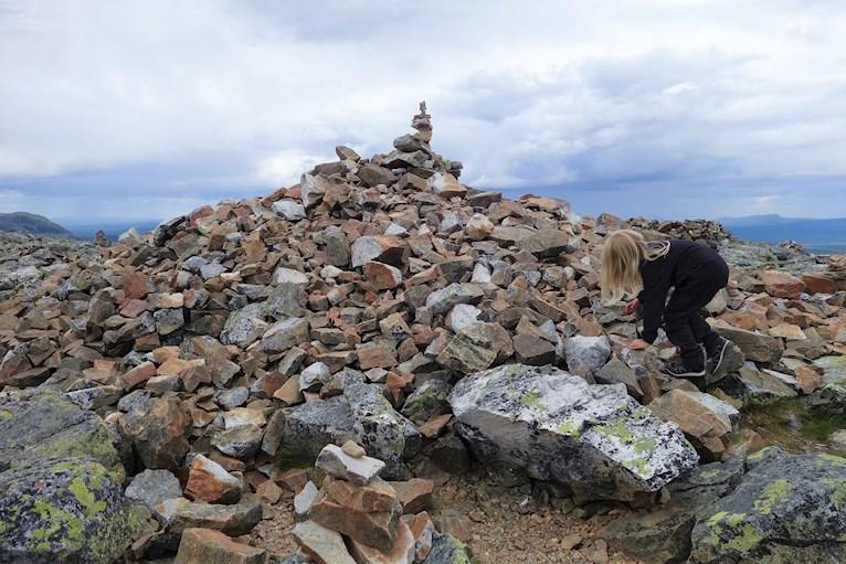 Vandring bestiga städjan familj med barn Nipefjället naturreservat berg skog hemester svemester stenröse nästan på toppen.