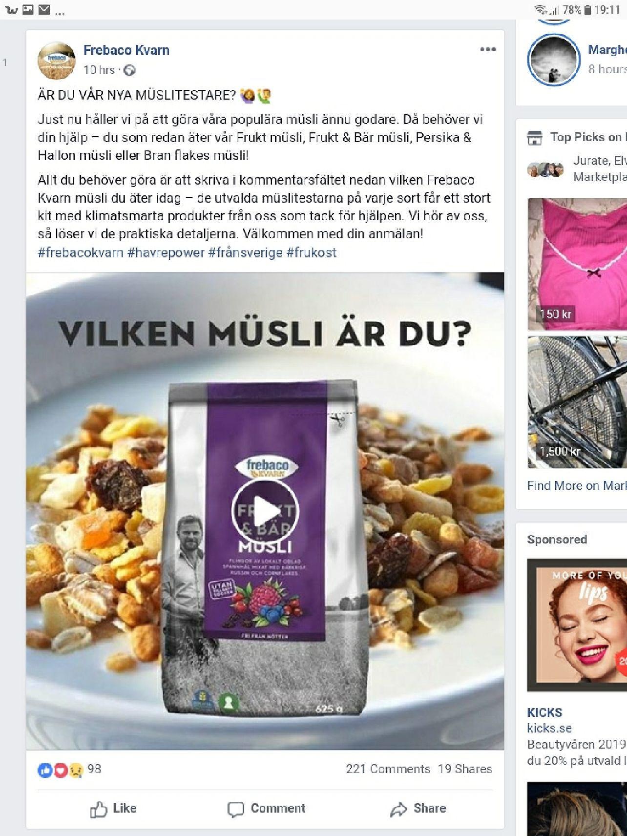 Frebago på Facebook  prova gratis deras musli