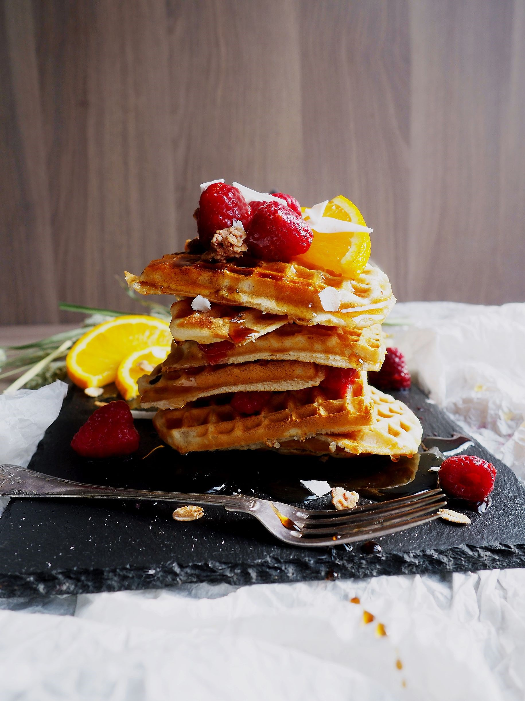 Vegan Gluten Free Waffles with Maple Syrup, Raspberries and Coconut