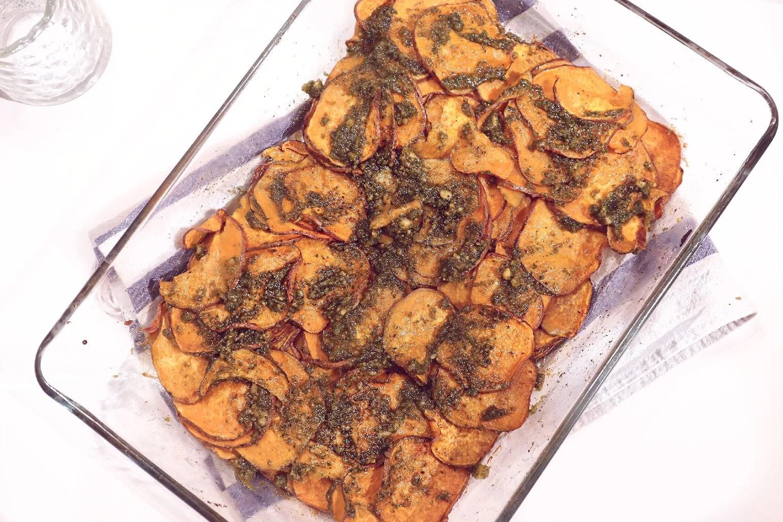 Rostad sötpotatis med pesto