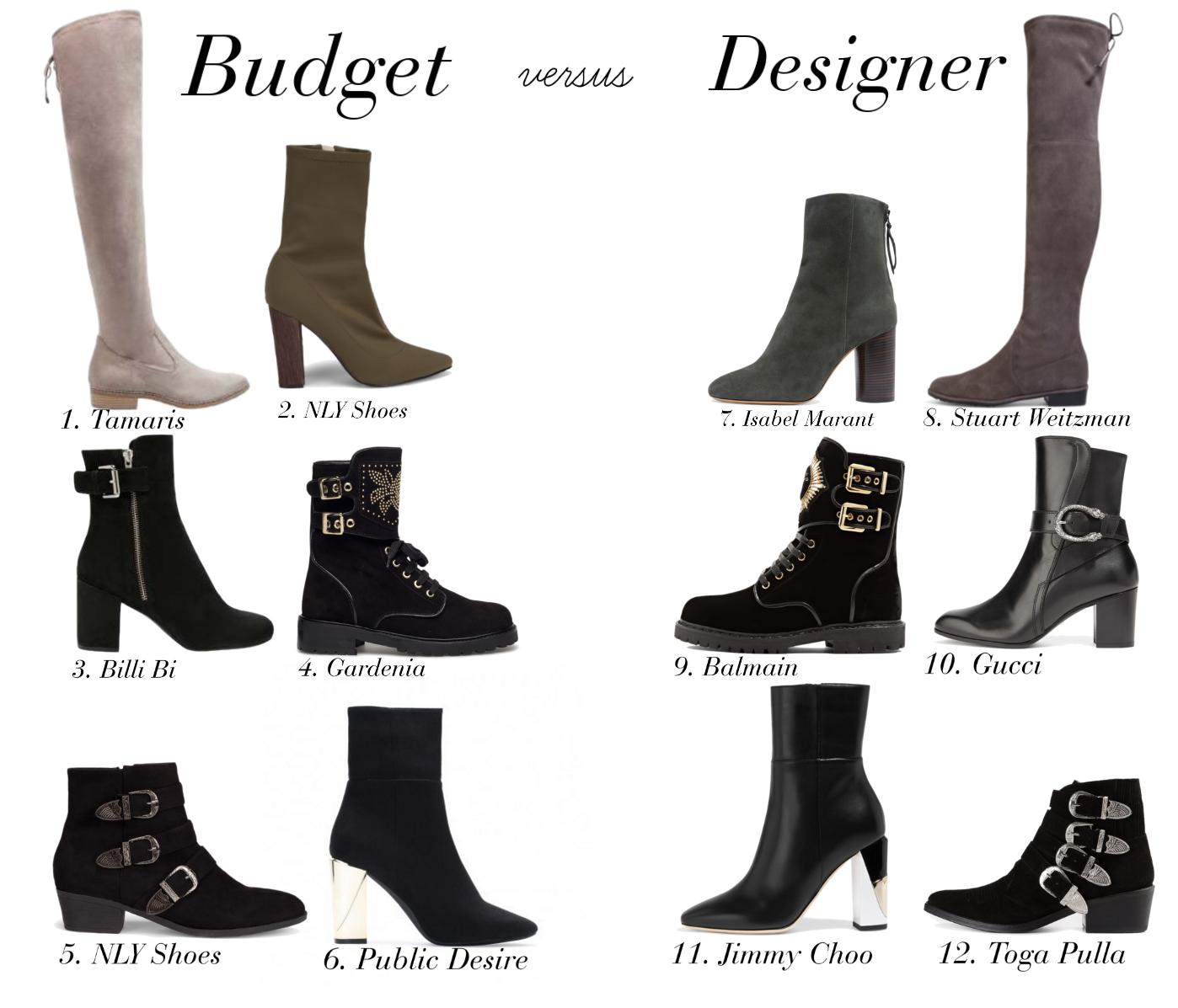 Fall boots: Budget vs. Designer