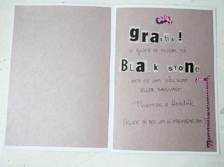 Gratis diy födelsedagskort till 90-års fest bokstäver utklippta från tidning återbruk av tapet och presentkort bjuder på middag.