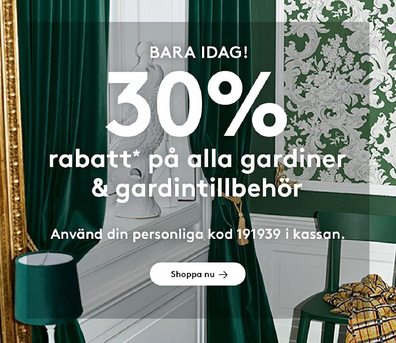 Jotex 30% på alla gardiner och tillbehör
