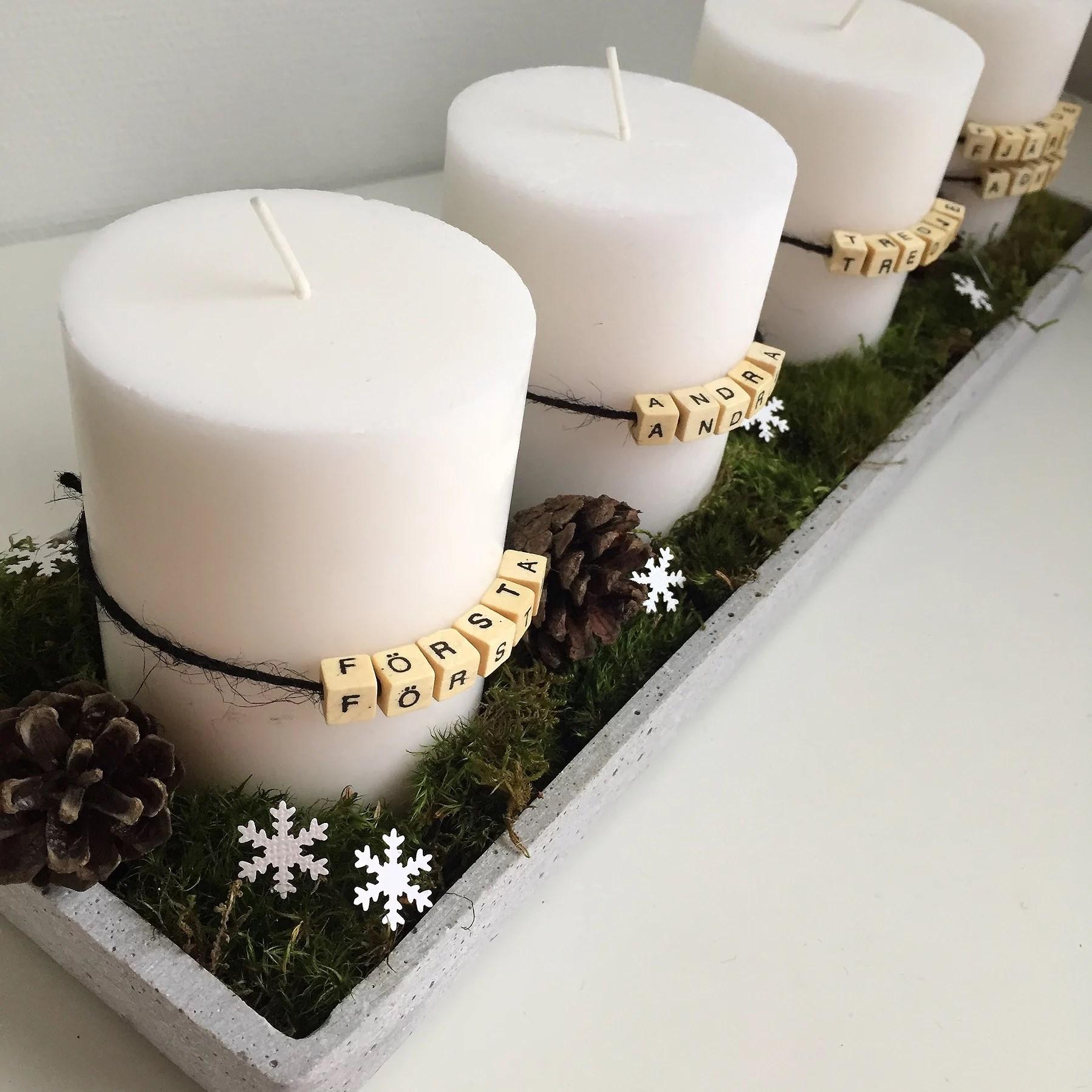 Advent. Adventsljus. Bokstavspärlor. Första andra tredje fjärde advent. DIY dekorera