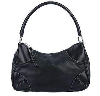 Black leather prada shoulder bag under $250