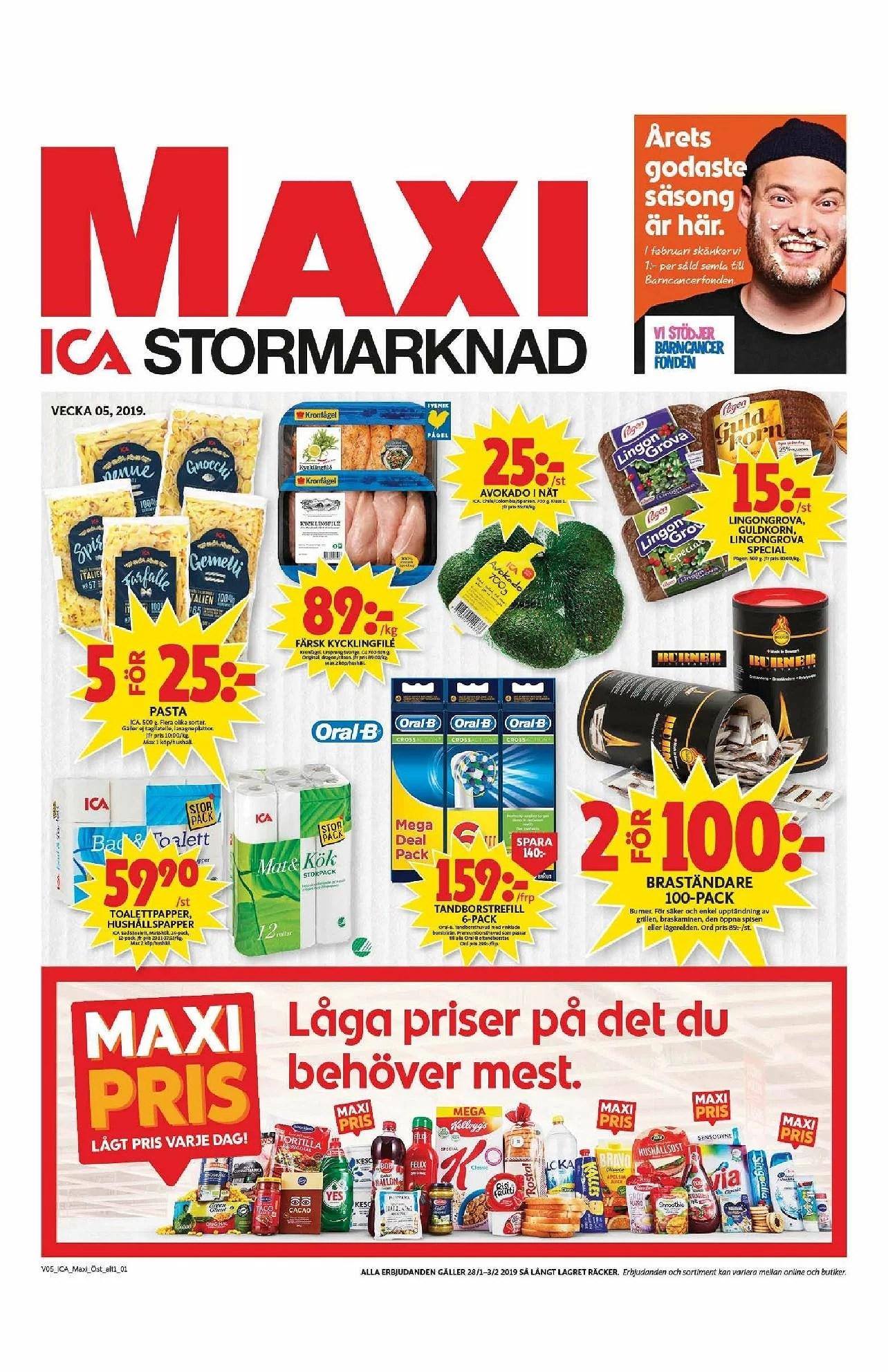 Ica Maxi nästa vecka, avokado i nät 25kr, Pågen bröd 15kr, Ica pizza 19,95kr och annat