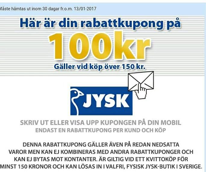 Forskjellige JYSK rabattkupong 100 kr | Survivans blogg FD-98