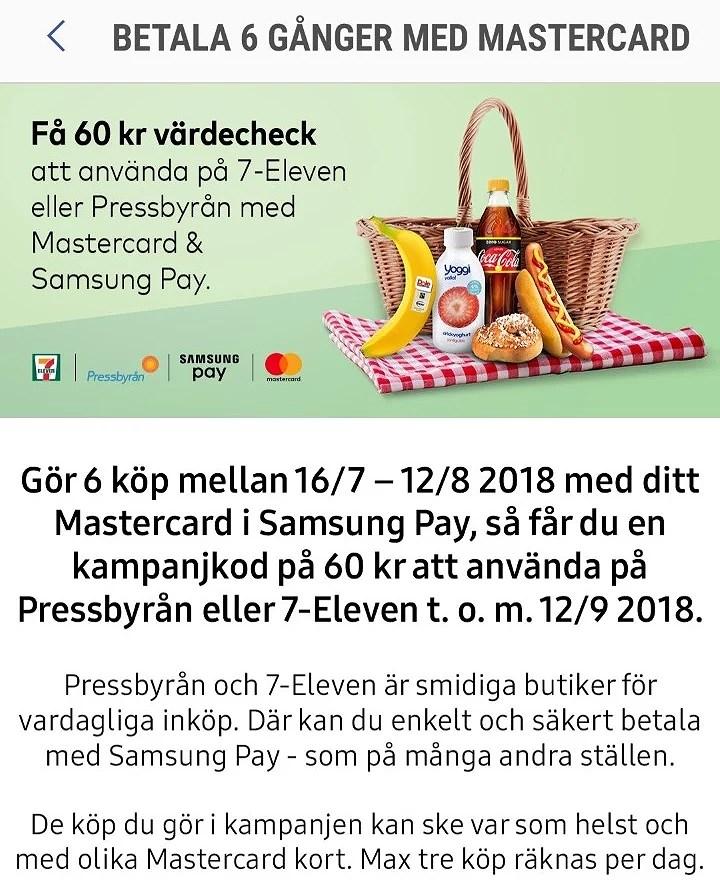 få 60 kr att använda på Pressbyrån eller 7-Eleven med Samsung Pay