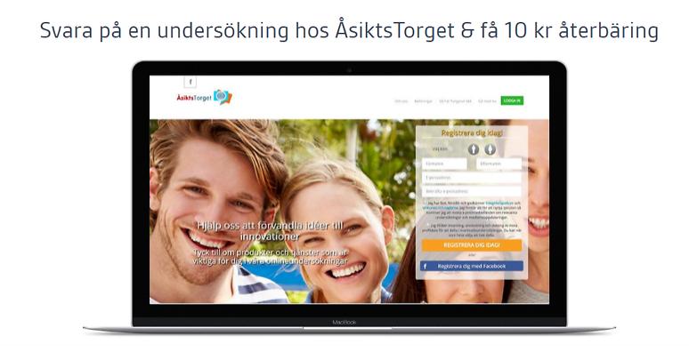 Få 10 kr cashback när du svarar på en undersökning hos Åsiktstorget....