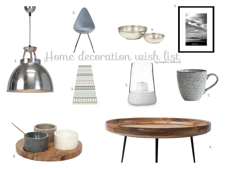 // Home decoration wish list