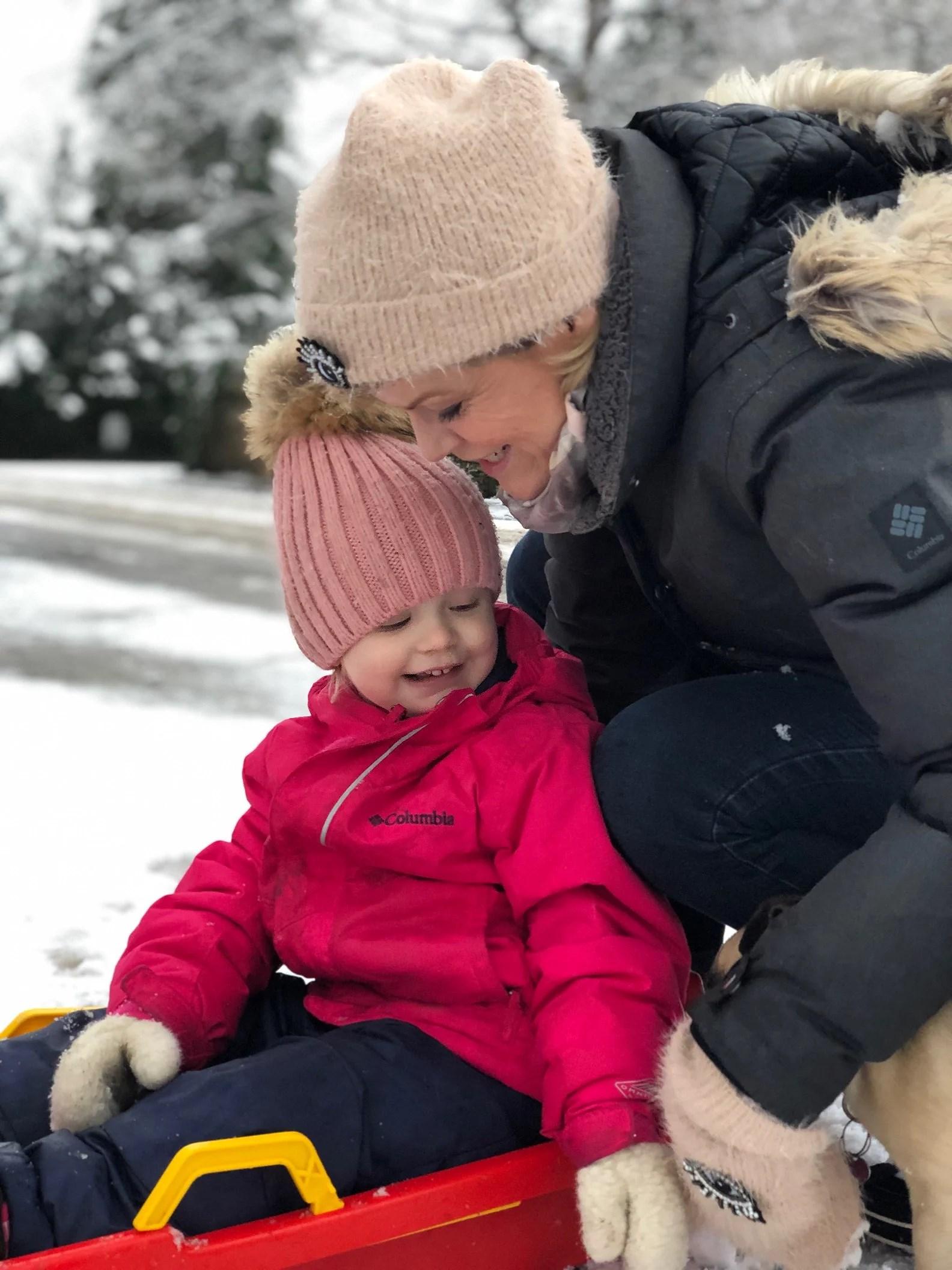 Uendelig lykkelig - den første tur i sneen i år.