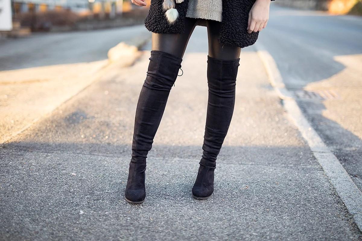 krist.in sko nelly flat thigh high boot lårhøye støvletter
