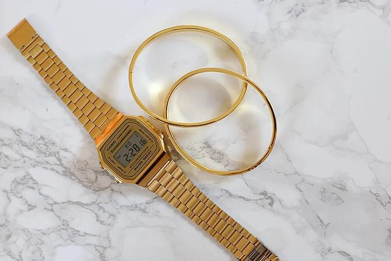 gold details krist.in casio watch cartier braceet