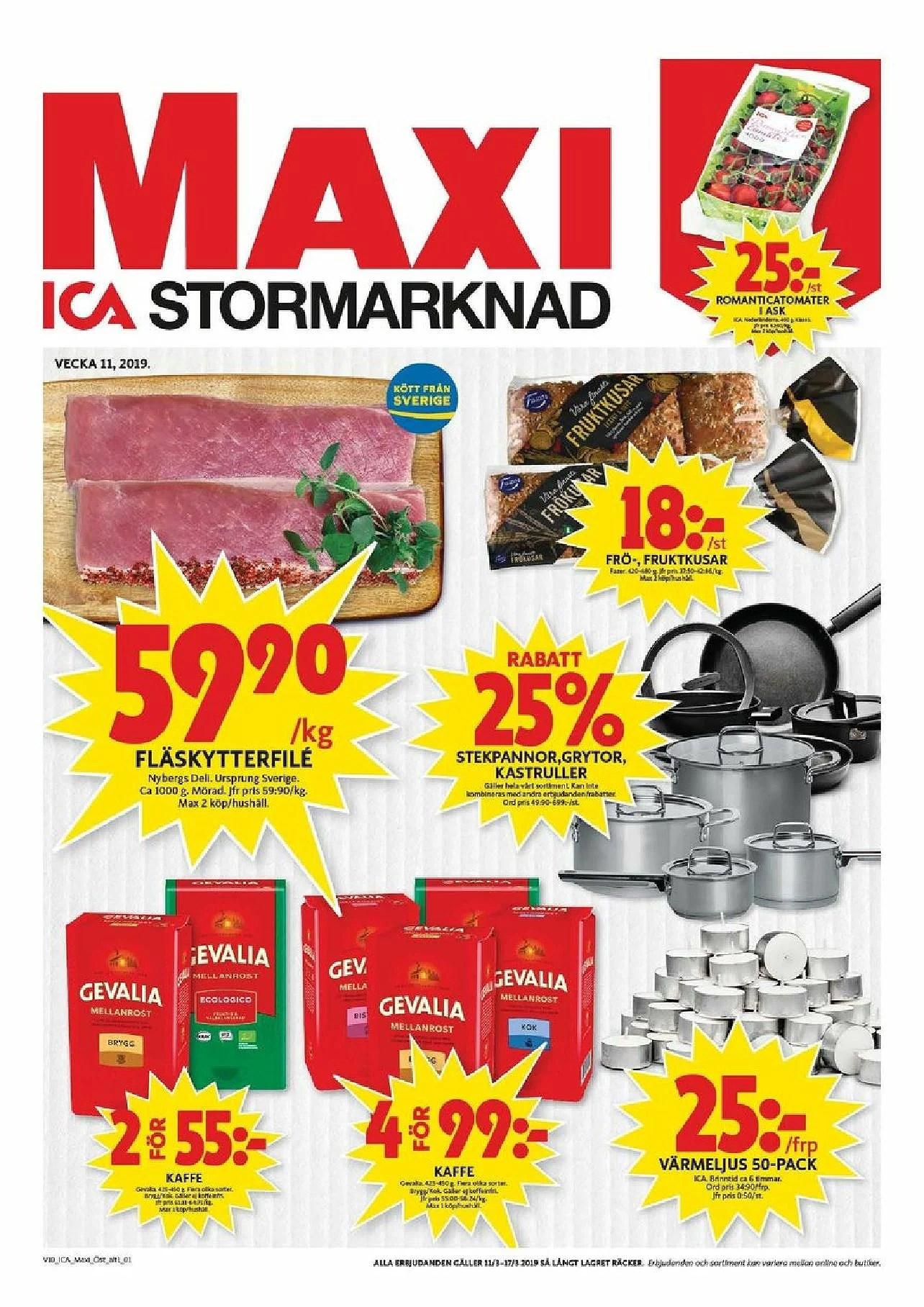 Ica Maxi nästa vecka, billigt kaffe, päron 15kr kg, 25% rabatt på kastrullar och annat