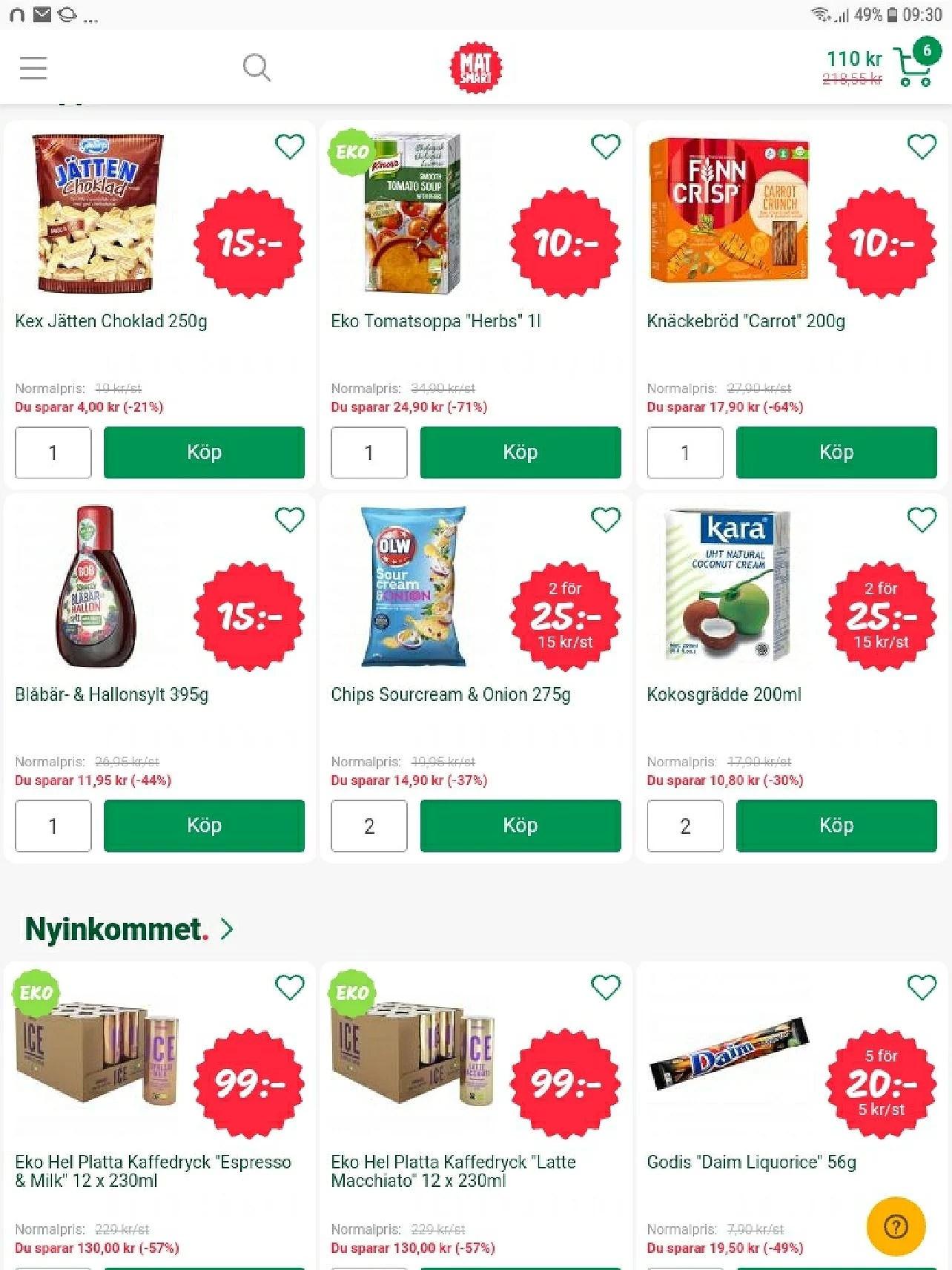 Matsmart.se 10% rabatt