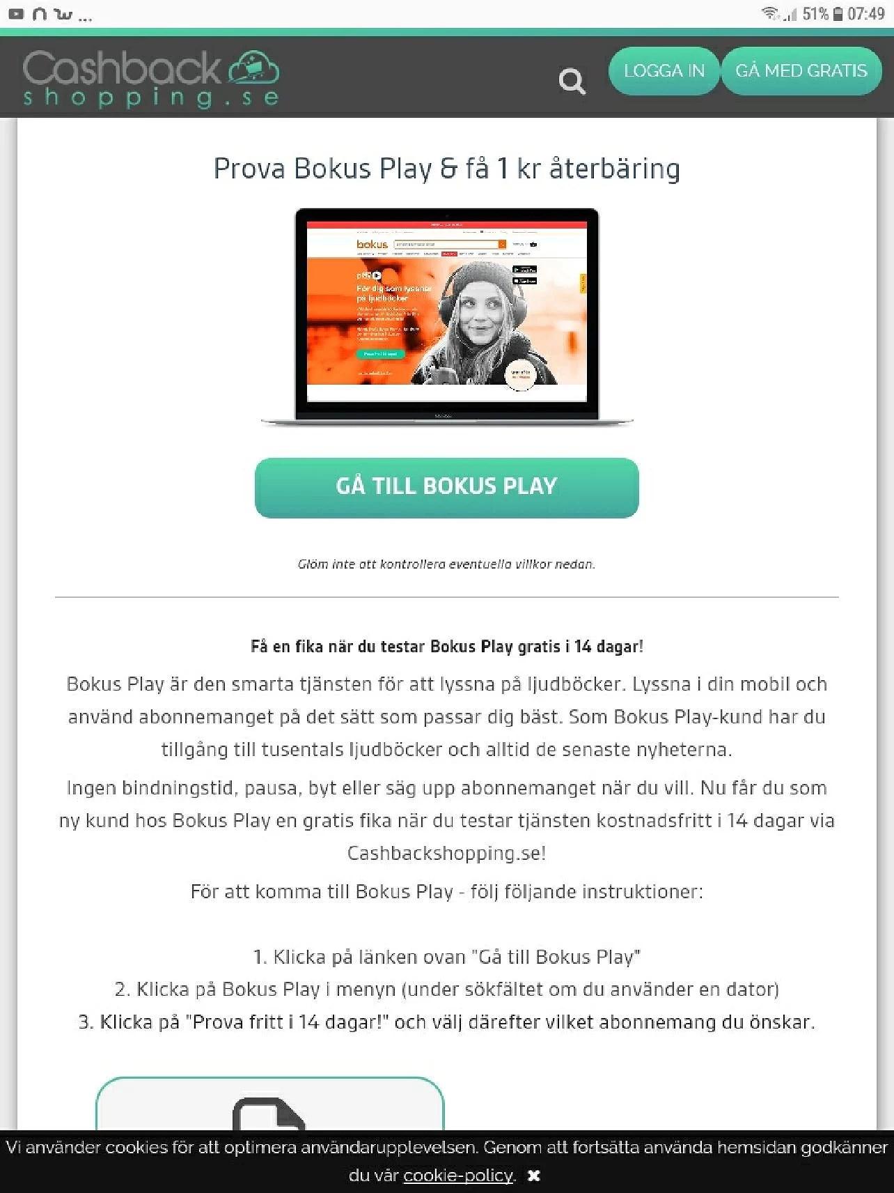 Cashbackshopping.se prova Bokus Play och få 1kr återbäring och gratis fika på Pressbyrån