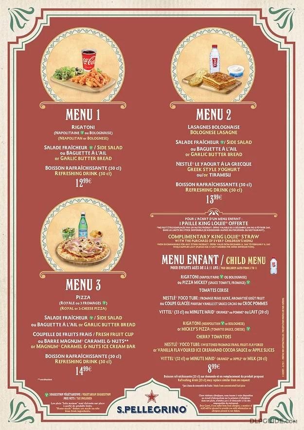Uppdaterad meny på Colonel Haiti's Pizza Outpost, Adventureland, Disneyland Park på Disneyland Paris