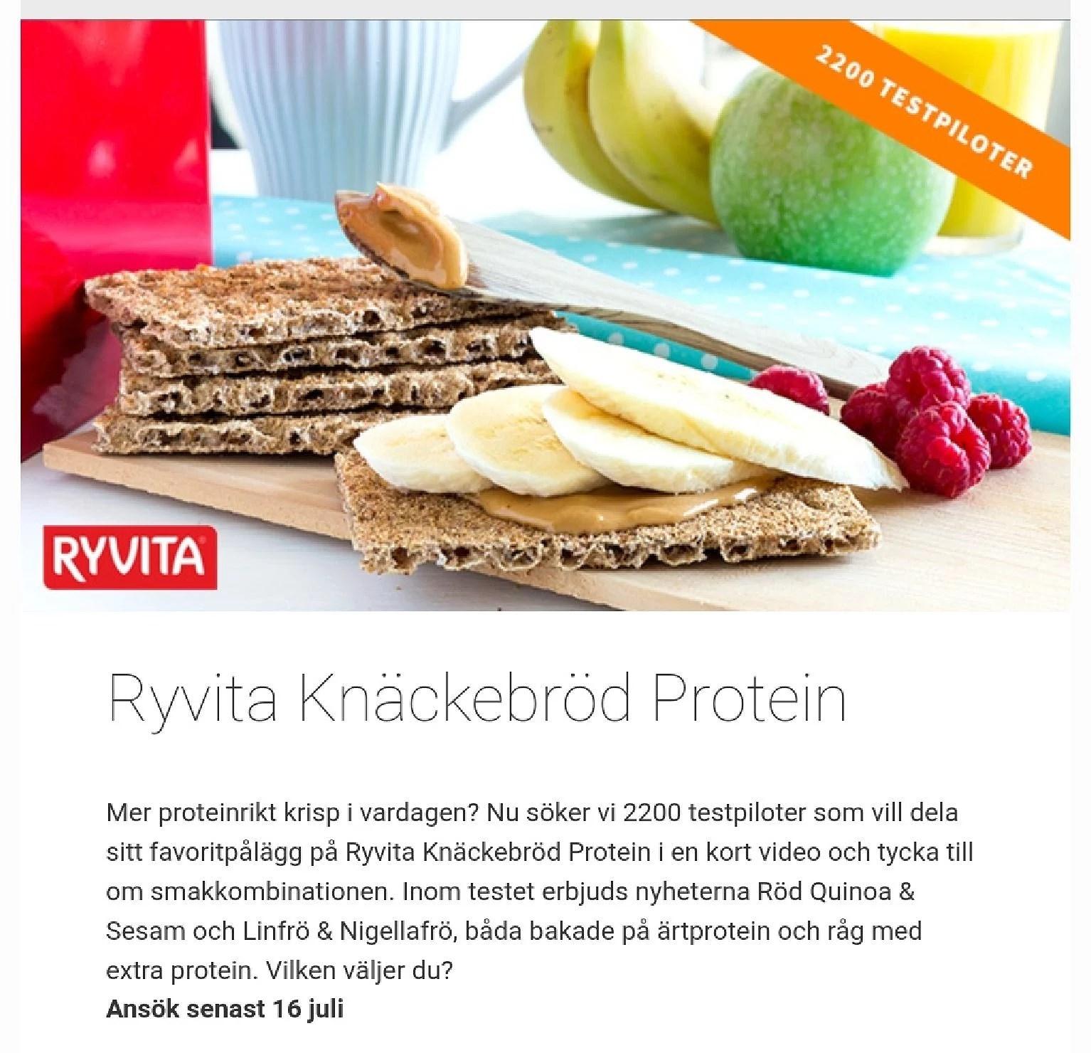 Ryvita protein knäckebröd söker provsmakare...